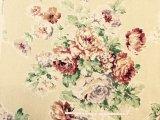 綿麻 大きな薔薇柄 ベージュ×落ち着いたレッド